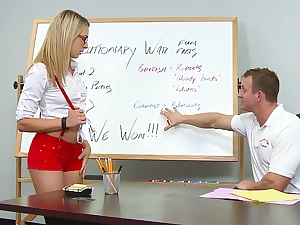 Blonde college girl sucking plus fucking her teacher