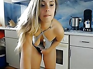 Slut hither big booty strips in the kitchen