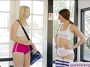 Four elegant boyhood Samantha Rone coupled with Riley Reid lesbo coitus