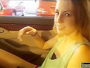Pretty teen Jenna Marie fucked by stranger medial his car