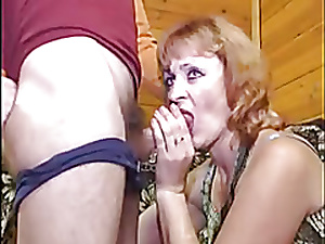 Redhead of age analized wits a young load of shit
