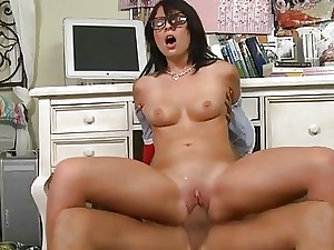 Hottie charms beam with the brush skillful pecker riding