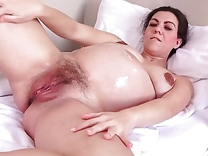 Silver-tongued Corazon Oiled Yon with an increment of Masturbating!