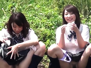 Japanese teenies cower and piss