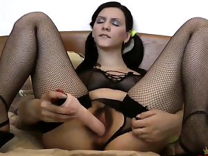 Lovely damsel Blanka plays with her furry beaver
