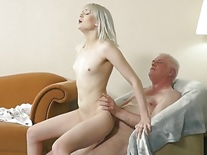 Young blond hard-core blowjob and deep cock-squeezing poon