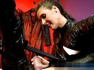 Naughty mistress is sexually manhandling this dude's enormous and insane balls