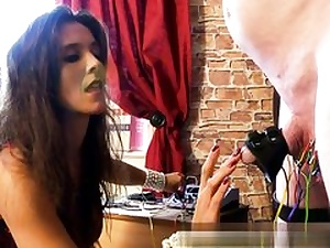 Frolic brunette is using ultra-kinky bang-out playthings to have fun with his XXL pink cigar