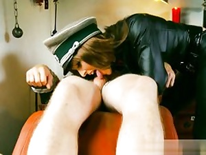 Crazy Nazi slut is manhandling this naked dude and his fat trunk