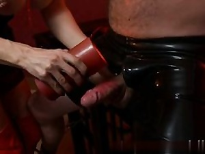 This mask looks truly ultra-kinky on him and he enjoys being manhandled