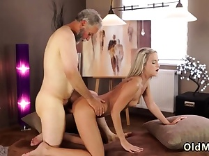 Dad sharing me with crony for second internal cumshot and aged