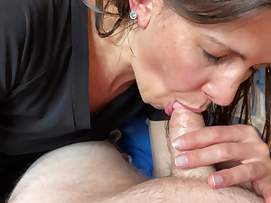 Cougar almost gets caught blowing my prick by her mother right as I cum POINT OF SIGHT. Still swallows it