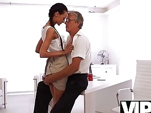 VIP4K. Babe has a crush on her mature chief and wants sex