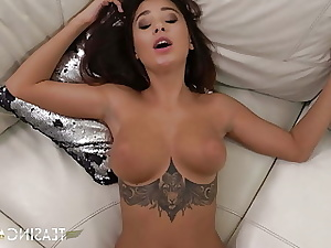Huge-titted Smallish Liya Platinum Strokes & Rides Thick Cock While Teasin