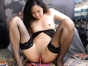 uber-cute chinese having joy with her obese vibrator