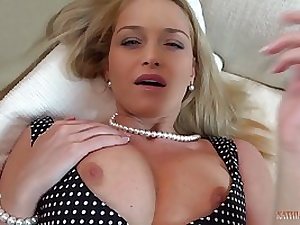 Elegant ash-blonde mom is spreading up wide and getting porked in front of the camera